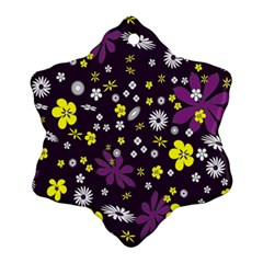 Floral Purple Flower Yellow Ornament (snowflake)  by AnjaniArt