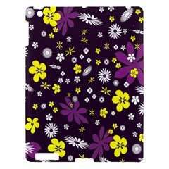 Floral Purple Flower Yellow Apple Ipad 3/4 Hardshell Case by AnjaniArt