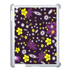 Floral Purple Flower Yellow Apple Ipad 3/4 Case (white) by AnjaniArt