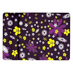 Floral Purple Flower Yellow Samsung Galaxy Tab 10 1  P7500 Flip Case by AnjaniArt