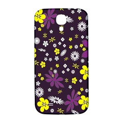 Floral Purple Flower Yellow Samsung Galaxy S4 I9500/i9505  Hardshell Back Case by AnjaniArt
