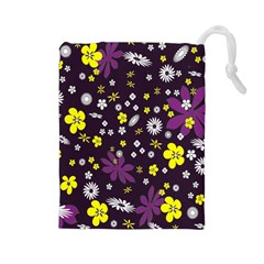 Floral Purple Flower Yellow Drawstring Pouches (large)  by AnjaniArt