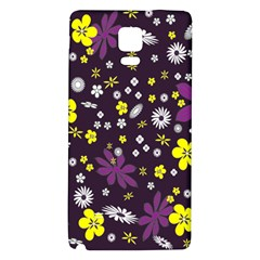 Floral Purple Flower Yellow Galaxy Note 4 Back Case by AnjaniArt