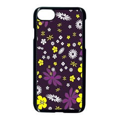 Floral Purple Flower Yellow Apple Iphone 7 Seamless Case (black) by AnjaniArt