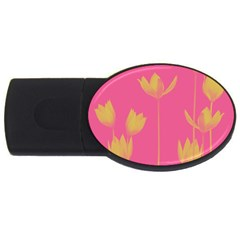Flower Yellow Pink Usb Flash Drive Oval (2 Gb)