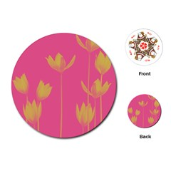 Flower Yellow Pink Playing Cards (round)