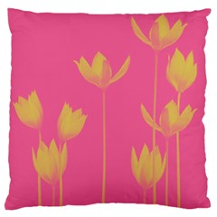 Flower Yellow Pink Large Flano Cushion Case (one Side)
