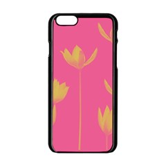 Flower Yellow Pink Apple Iphone 6/6s Black Enamel Case by AnjaniArt