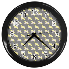 Hearts And Yellow Crossed Washi Tileable Gray Wall Clocks (black) by AnjaniArt