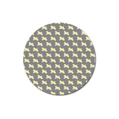 Hearts And Yellow Crossed Washi Tileable Gray Magnet 3  (round) by AnjaniArt