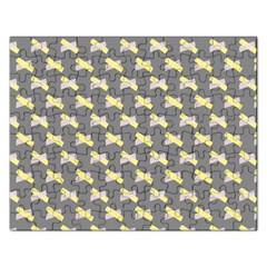 Hearts And Yellow Crossed Washi Tileable Gray Rectangular Jigsaw Puzzl