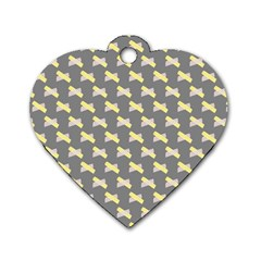 Hearts And Yellow Crossed Washi Tileable Gray Dog Tag Heart (one Side)