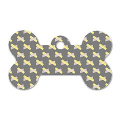 Hearts And Yellow Crossed Washi Tileable Gray Dog Tag Bone (two Sides) by AnjaniArt