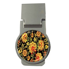 Flower Yellow Green Red Money Clips (round)