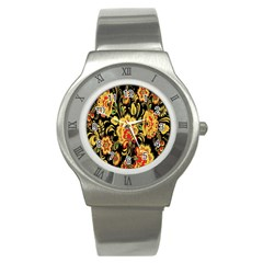 Flower Yellow Green Red Stainless Steel Watch