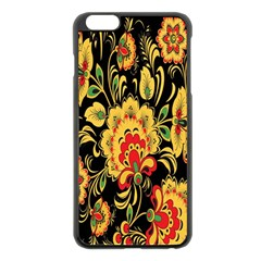 Flower Yellow Green Red Apple Iphone 6 Plus/6s Plus Black Enamel Case