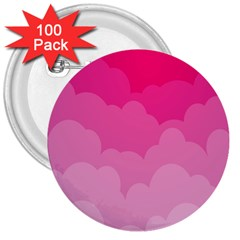 Lines Pink Cloud 3  Buttons (100 Pack)