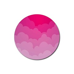 Lines Pink Cloud Rubber Round Coaster (4 Pack)