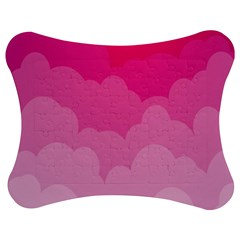 Lines Pink Cloud Jigsaw Puzzle Photo Stand (bow)