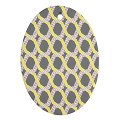 Hearts And Yellow Washi Zigzags Tileable Ornament (oval)