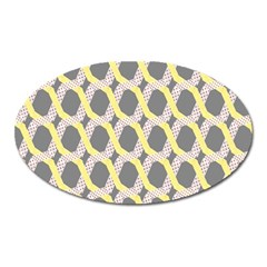 Hearts And Yellow Washi Zigzags Tileable Oval Magnet