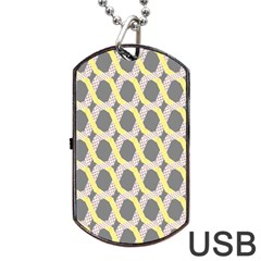 Hearts And Yellow Washi Zigzags Tileable Dog Tag Usb Flash (two Sides)  by AnjaniArt