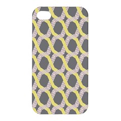 Hearts And Yellow Washi Zigzags Tileable Apple Iphone 4/4s Premium Hardshell Case