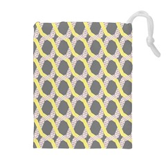 Hearts And Yellow Washi Zigzags Tileable Drawstring Pouches (extra Large)