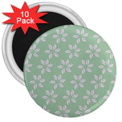 Pink Flowers On Light Green 3  Magnets (10 Pack)