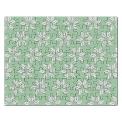 Pink Flowers On Light Green Rectangular Jigsaw Puzzl by AnjaniArt