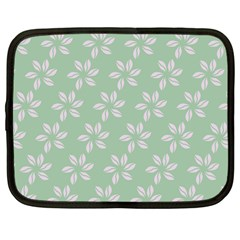 Pink Flowers On Light Green Netbook Case (large) by AnjaniArt