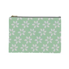 Pink Flowers On Light Green Cosmetic Bag (large)  by AnjaniArt