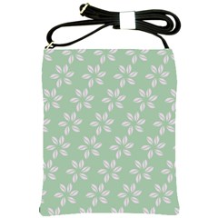 Pink Flowers On Light Green Shoulder Sling Bags by AnjaniArt