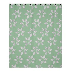 Pink Flowers On Light Green Shower Curtain 60  X 72  (medium)  by AnjaniArt