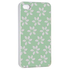 Pink Flowers On Light Green Apple Iphone 4/4s Seamless Case (white)