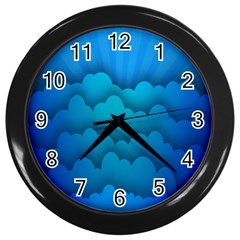 Blue Sky Jpeg Wall Clocks (black) by AnjaniArt