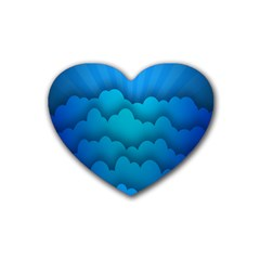 Blue Sky Jpeg Rubber Coaster (heart)  by AnjaniArt