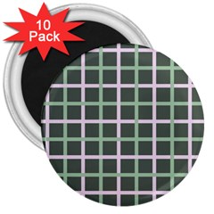 Pink And Green Tiles On Dark Green 3  Magnets (10 Pack)
