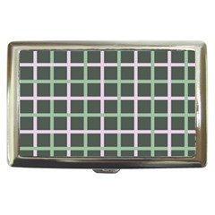 Pink And Green Tiles On Dark Green Cigarette Money Cases by AnjaniArt