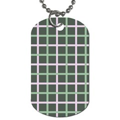 Pink And Green Tiles On Dark Green Dog Tag (two Sides) by AnjaniArt