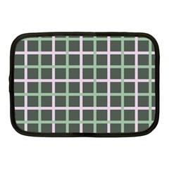 Pink And Green Tiles On Dark Green Netbook Case (medium)