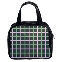 Pink And Green Tiles On Dark Green Classic Handbags (2 Sides)