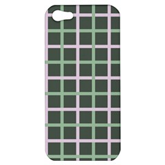 Pink And Green Tiles On Dark Green Apple Iphone 5 Hardshell Case by AnjaniArt