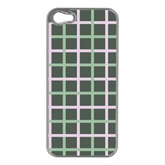 Pink And Green Tiles On Dark Green Apple Iphone 5 Case (silver)