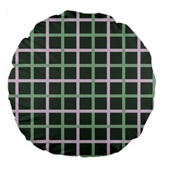 Pink And Green Tiles On Dark Green Large 18  Premium Round Cushions