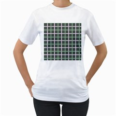 Pink And Green Tiles On Dark Green Women s T Shirt (white)