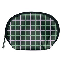 Pink And Green Tiles On Dark Green Accessory Pouches (medium)