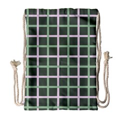 Pink And Green Tiles On Dark Green Drawstring Bag (large) by AnjaniArt