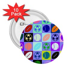 Sports Ball 2 25  Buttons (10 Pack)  by AnjaniArt