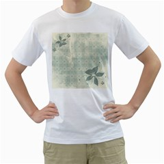Shadow Flower Gray Men s T Shirt (white) (two Sided)
